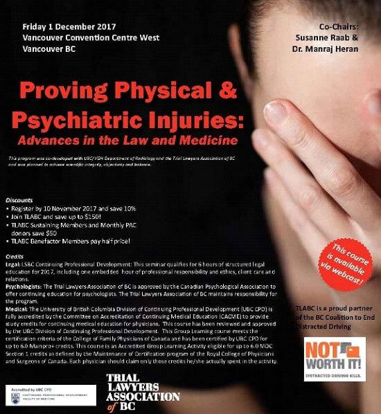"Susanne Raab Chairs TLABC Medical Legal Seminar, ""Proving Physical and Psychiatric Injuries"""